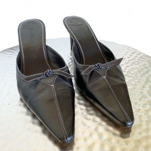 Cole Haan Bow Vamp Leather Mules Black Size 9
